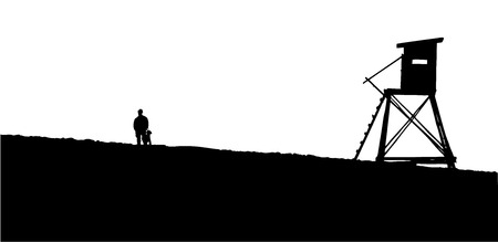 lookout: silhouette of a hunter with a dog and hunting observatory