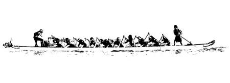 bateau de course: illustration d'un bateau de dragon dans l'action, en noir et blanc sur fond blanc