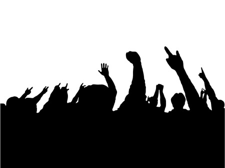 open air: crowd of people with hands up concert Illustration