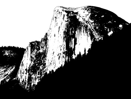 cliff: Yosemite Half Dome illustration, black and white