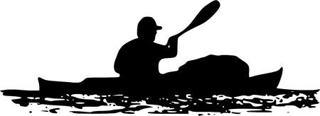 canoe paddle: sea kayaker illustration, kayak with cargo