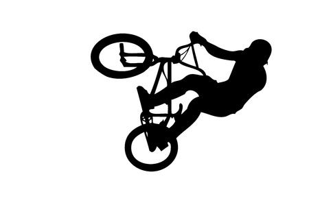 bmx bike: silhouette of a rider in the air
