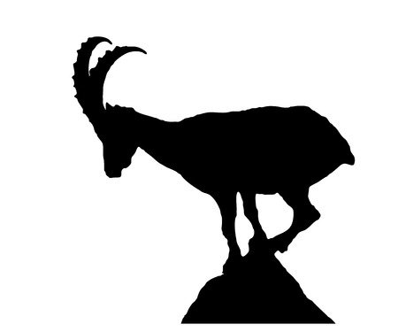 Capricorn silhouette on the stone, white