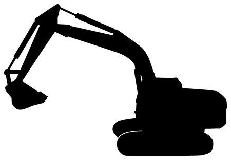 bulldozer: silhouette on digger on white