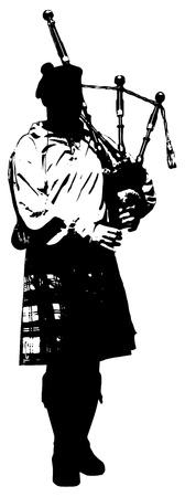 scot: Bagpiper Black and white illustration