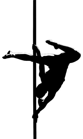 pole dance: Silhouette of pole dancer, black and white