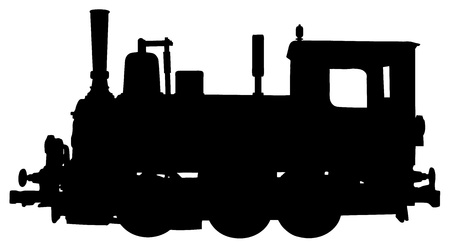 locomotive: silhouette of steam locomotive on white background
