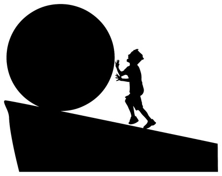 rolling hills: boy rolls the ball to the edge, free place for text Illustration