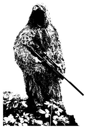 marksman: Sniper with camouflage suit on white background