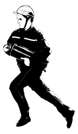 running firefighter on white background Иллюстрация
