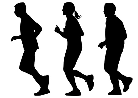 men and woman: run silhouettes isolated on white background