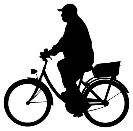 Man on bike silhouette Иллюстрация
