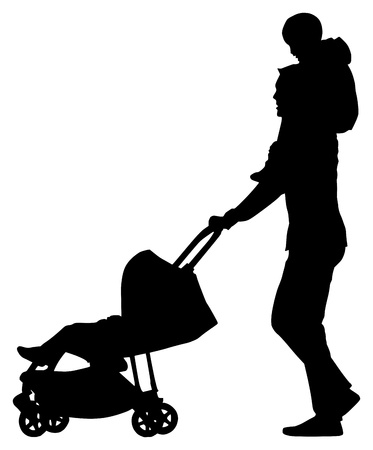 Man with a pram with baby on his neck on white background Иллюстрация