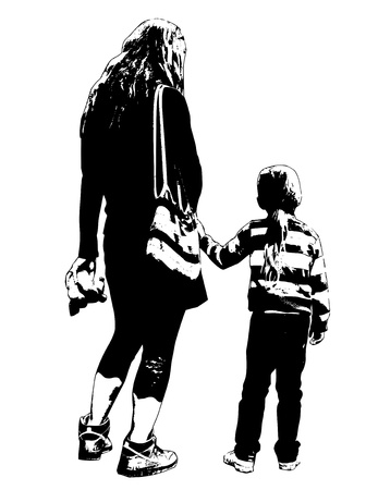 mother with daughter silhouette on white background
