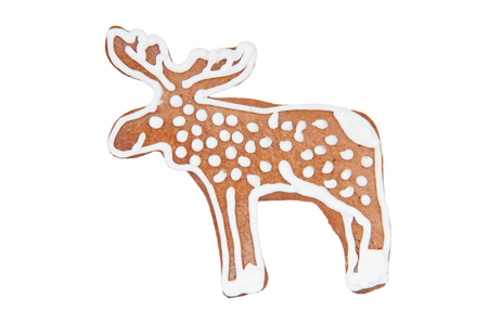 gingerbread homemade cookies Elk on white background