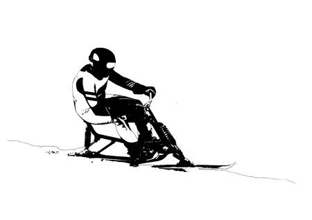 skibobbing, skibob silhouette on white background Фото со стока