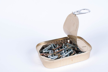 handy man: Opened fish tin can with screws for handy man Stock Photo