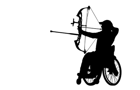 Para Archer on the Whellchair, silhouette on white background