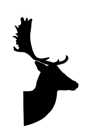 fallow deer silhouette on white background