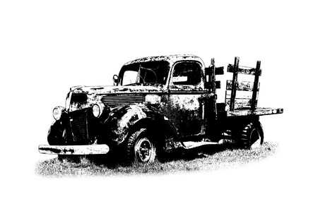 Classic pickup truck. Old car illustration. Black and white. Фото со стока