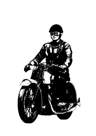 Motorbike rider retro illustration
