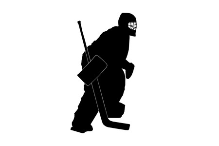 hockey goalkeeper silhouette on white background