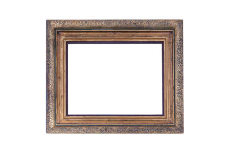 Empty old frame on white background