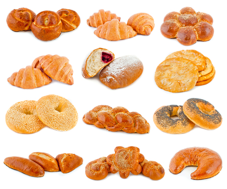 various kinds of bread, pastries and sweets on a white background