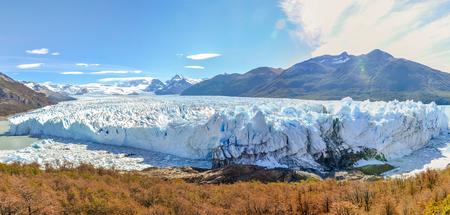 calving: Panoramic view at the Perito Moreno Glacier, Patagonia, Argentina