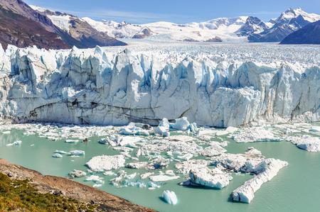 calving: Frontal view at the Perito Moreno Glacier, Patagonia, Argentina Stock Photo