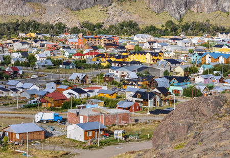 chalten: Evening view of the village, Cerro Torre Walk, El Chalten, Patagonia, Argentina Stock Photo