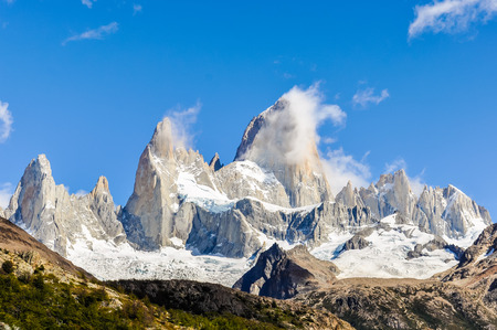 chalten: View of the peaks, Fitz Roy Walk, El Chalten, Patagonia, Argentina Stock Photo