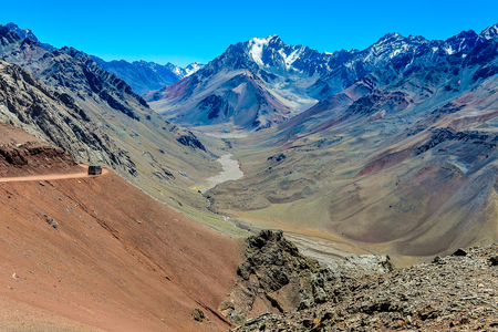 mendoza: View of a valley in the Andes around Mendoza, Argentina