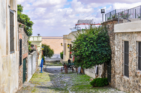 tranquillity: Tranquillity on the street of Colonia del Sacramento, a colonial city in Uruguay. Stock Photo