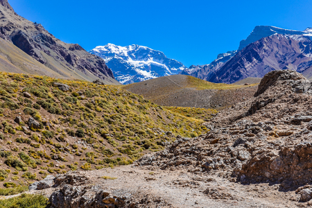 aconcagua: Aconcagua, the highest peak of the Southern hemispherem The Andes around Mendoza, Argentina.