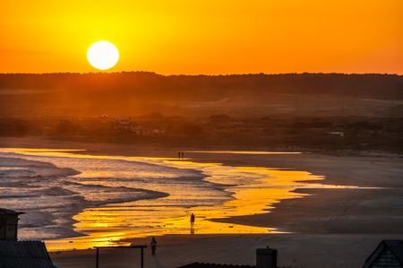 cabo: Sunset in the hippy village of Cabo Polonio in Uruguay. Stock Photo
