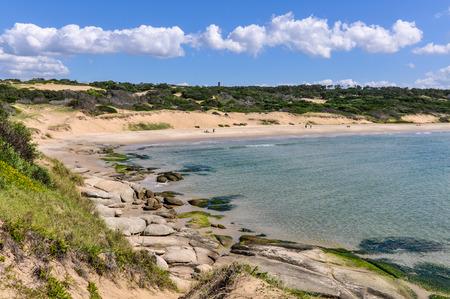 diablo: Beach view in the remote coastal village of Punta del Diablo in Uruguay. Stock Photo