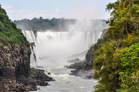 wonders: View of Devils Throat at Iguazu Falls, one of the New Seven Wonders of Nature, Argentina