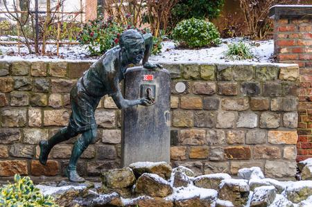 european culture: Boy fountain in Mons, the European Capital of Culture 2015, Belgium