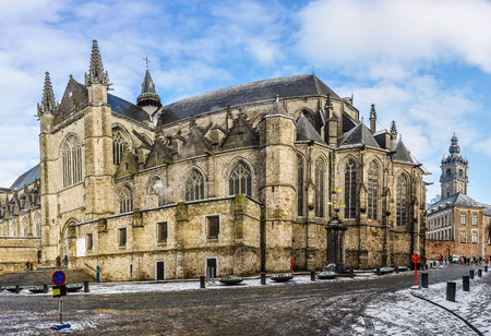 european culture: Sainte-Waudru Collegiate in Mons, the European Capital of Culture 2015, Belgium Stock Photo
