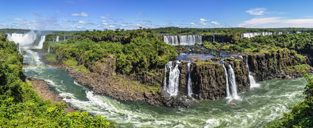 panoramic: Panoramic view at Iguazu Falls, one of the New Seven Wonders of Nature, Brazil