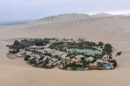 The oasis between the dunes of Huacachina in the coastal desert of Peru
