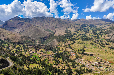 sacred valley of the incas: View from the ruins of Pisac in the Sacred Valley of the Incas, Peru Stock Photo