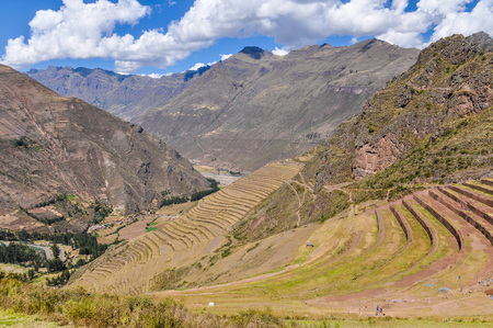 sacred valley of the incas: The terraces of Pisac in the Sacred Valley of the Incas, Peru