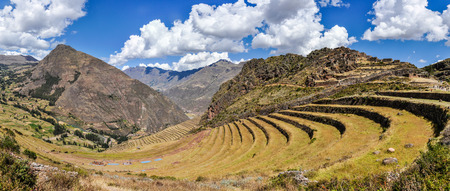 sacred valley of the incas: Panoramic view of Pisac in the Sacred Valley of the Incas, Peru