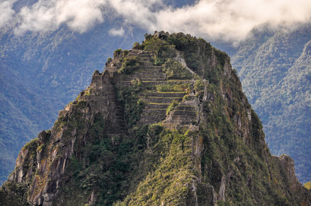top 7: Wayna Picchu top at Machu Picchu, the sacred city of Incas, one of the New 7 Wonders of the World, Peru Stock Photo