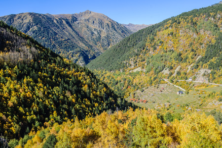 tourism in andorra: Small hut in the colorful forest in Fall, in the Valley of Estanyo River, Andorra Stock Photo