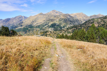 pica: View of Pica dEstats in Fall, in the Valley of Estanyo River, Andorra Stock Photo