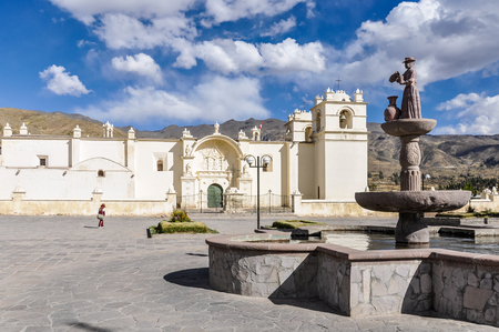 colonial church: Colonial church and statue in the deep Colca Canyon, Peru