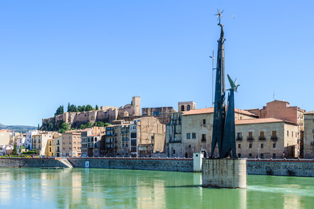 ebre: View of the medieval town of Tortosa from the Ebro River, Catalonia, Spain